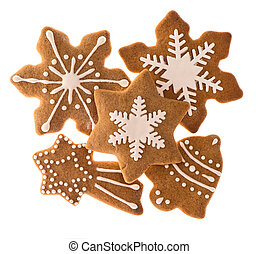 gingerbread cookies isolated on white. christmas food
