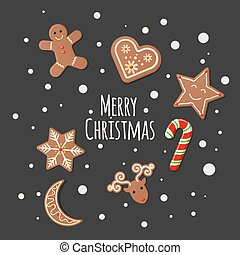 Gingerbread Cookies - Merry Christmas sign