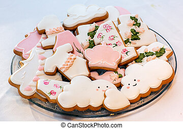 Gingerbread cookies on a white background