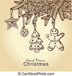 gingerbread cookies on christmas tree - hand drawn...