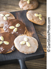 Gingerbread cookies on the wooden board