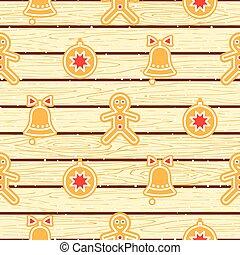 Gingerbread cookies on wood planks vector seamless pattern....