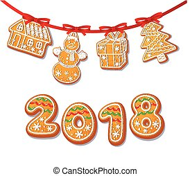 Gingerbread cookies set on garland vector isolated...