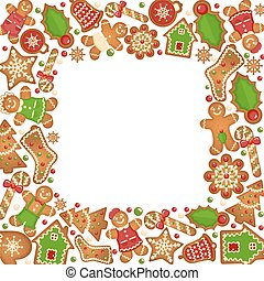 Gingerbread cookies vector frame. Food dessert decoration...