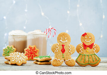 Gingerbread cookies with cocoa for Christmas