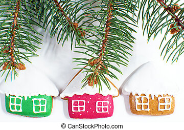 Gingerbread cookies with fir over w