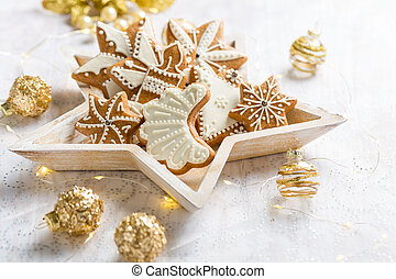 Gingerbread cookies with ornaments for Christmas
