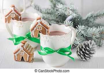 Gingerbread cottages with hot chocolate for Christmas