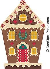 gingerbread, decorado, casa, natal, ícone, icing