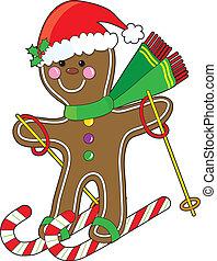 gingerbread, esquiador