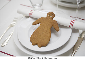 Gingerbread Figure as decoration on a table