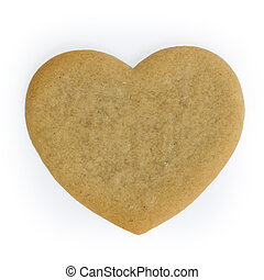 Heart shaped gingerbread cookie, awaiting decoration