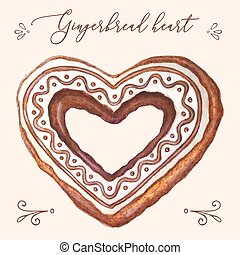Gingerbread heart vector. Gingerbread heart vector illustration for Christmas card, menu, recipes. Watercolor gingerbread heart vector illustration for package, invitation. Gingerbread heart vector.