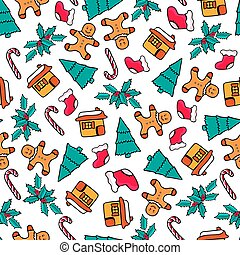 Gingerbread house and man, candy, Santa's sock, fir-tree. Christmas seamless pattern. Festive design for the New Year 2019 in doodle style..
