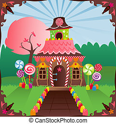 Colorful gingerbread house decorated in candy, in a bright setting... includes a storybook frame