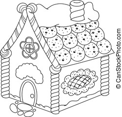 Gingerbread House Coloring Page - Image Gingerbread House on...