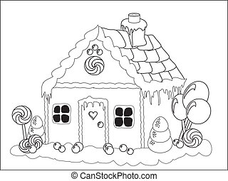 Gingerbread house colouring page - Vector illustration. ...