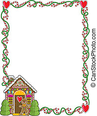 A border or frame featuring Christmas candy canes and a gingerbread house