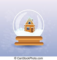 Gingerbread House Covered With Snow In Christmas Magic Ball