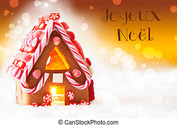 Gingerbread House, Golden Background, Joyeux Noel Means Merry Christmas