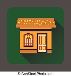 Gingerbread house icon, flat style