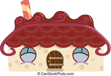 Gingerbread house isolated fairy tale vector illustration