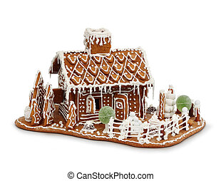 Gingerbread house isolated - Homemade gingerbread house...