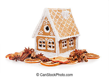 Gingerbread house isolated on a white background