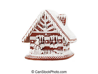Gingerbread house on white background