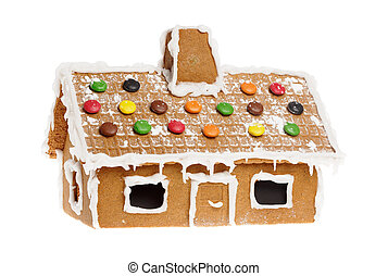 One gingerbread house isolated on whitebackground.