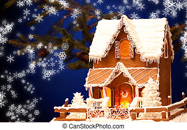 gingerbread house over christmas background