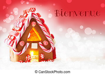Gingerbread House, Red Background, Bienvenue Means Welcome