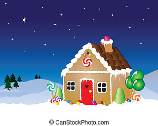 Gingerbread house scene - Vector illustration of a...