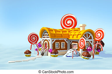 gingerbread house snow field
