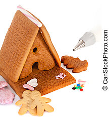 Gingerbread house to be decorated - Gingerbread house with...