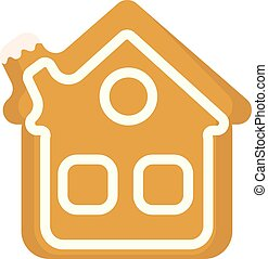 Gingerbread House vector icon. Isolated on white background.