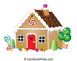 Vector illustration of a gingerbread house against white background