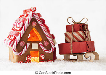 Gingerbread House, White Background, Sled With Gifts