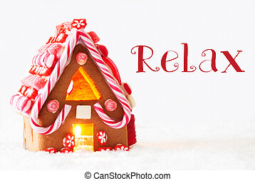 Gingerbread House, White Background, Text Relax