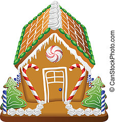 Gingerbread house with candies and whipped cream decoration