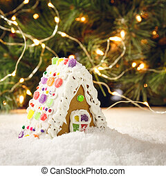 Gingerbread house with Christmas tree