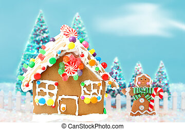 gingerbread house with man and trees - Gingerbread man ...