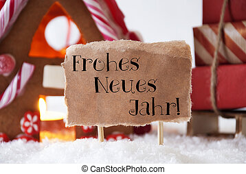 Gingerbread House With Sled, Neues Jahr Means New Year