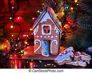 Gingerbread houses in christmas Christmas garland.