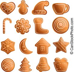 Gingerbread icons set, cartoon style