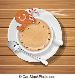 gingerbread in cup of hot coffeee with sugar cane - ...