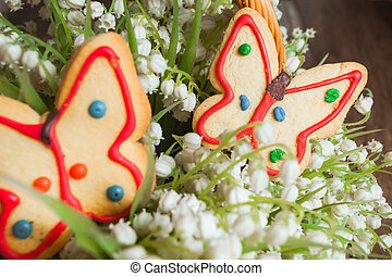 Gingerbread in the form of a butterfly.