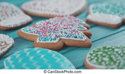 Gingerbread in the form of a Christmas tree for family