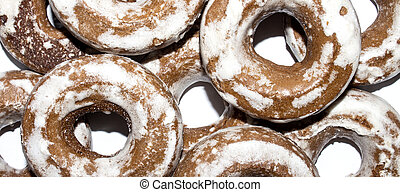 Gingerbread in the form of dries on a white background.