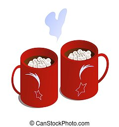 Gingerbread Isometric Hot Drink. Christmas and love mood